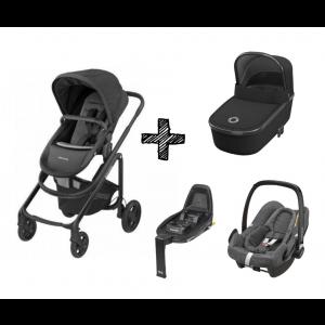 Kinderwagen 2in1 Maxi-Cosi Lila CP Essential Black + Maxi-Cosi Rock Sparkling Grey + FamilyFix2