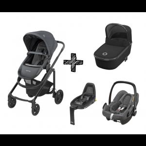 Kinderwagen 2in1 Maxi-Cosi Lila CP Essential Graphite + Maxi-Cosi Rock Sparkling Grey + FamilyFix2