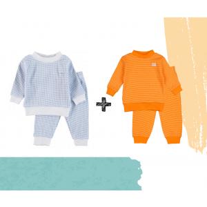 Set   2 Feetje Pyjama's   Wafel Oranje + Blue   Maat 56 t/m 104