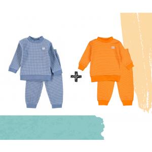 Set   2 Feetje Pyjama's   Wafel Oranje + Blue Melange   Maat 56 t/m 104