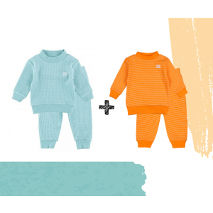 Set   2 Feetje Pyjama's   Wafel Oranje + Green Melange   Maat 56 t/m 104