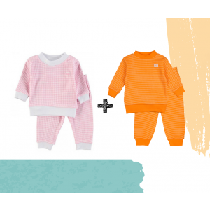 Set   2 Feetje Pyjama's   Wafel Oranje + Pink   Maat 56 t/m 104