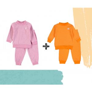 Set   2 Feetje Pyjama's   Wafel Oranje + Pink Melange   Maat 56 t/m 104