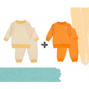 Set   2 Feetje Pyjama's   Wafel Oranje + Yellow   Maat 56 t/m 104