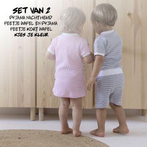 SET   2 Feetje Pyjama's Zomer Kort + Nachthemd   Kies je Kleur   Maat 56 t/m 116
