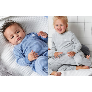 Set van 2 Feetje Pyjama's Wafel Blue Melange + Grey Melange Maat 56 t/m 116