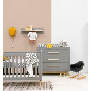 Babykamer Bopita Fenna Grijs/Naturel (Ledikant + Commode)