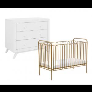 Babykamer Fiore Goud (ledikant + commode)