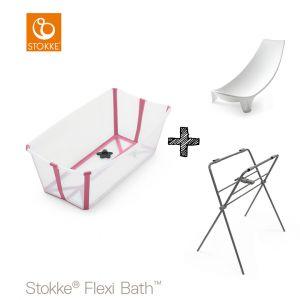 Set | Stokke® Flexi Bath™ Transparant Pink met Badstandaard & Gratis Newborn Support