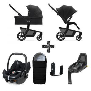Set Compleet | Kinderwagen Joolz Hub+ Brilliant Black + Voetenzak & Autostoel & Base & Adapterset