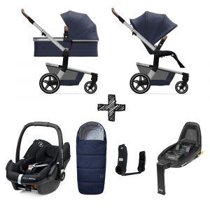 Set Compleet | Kinderwagen Joolz Hub+ Classic Blue + Voetenzak & Autostoel & Base & Adapterset