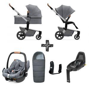 Set Compleet | Kinderwagen Joolz Hub+ Gorgeous Grey + Voetenzak & Autostoel & Base & Adapterset