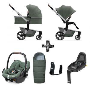 Set Compleet | Kinderwagen Joolz Hub+ Marvellous Green + Voetenzak & Autostoel & Base & Adapterset