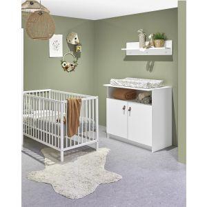 Babykamer Jasper (Ledikant Wit Open + Commode)