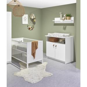 Babykamer Jasper (Ledikant Wit Gesloten + Commode)