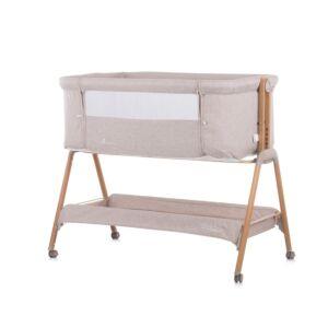 Co-Sleeper Chipolino Wieg KOSSD0212MO Sweet Dreams Mocca/Wood Incl. Wielen