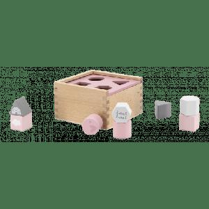 Vormenstoof Label-Label Shape Sorting Box Pink