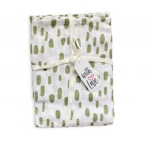 Luiers Hydrofiel 3st. With Love Dots Oil Green