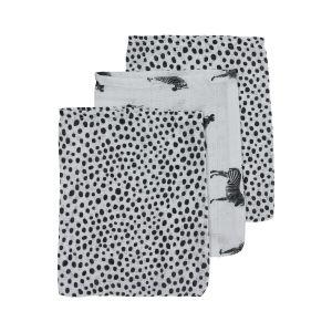 Washandjes Hydrofiel Meyco Zebra animal-cheetah 458040 Black 3st.