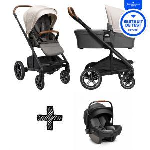 SET | Kinderwagen Nuna Mixx Next Birch + Autostoel Nuna Pipa Next Compatible Caviar