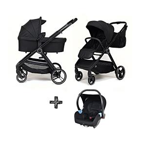 Kinderwagen NoviNeo Black/Black Grip 3in1 Inclusief Autostoel Onyx Black