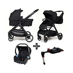 Kinderwagen NoviNeo Black/Black Grip 3in1 Inclusief Autostoel Onyx Black + Base