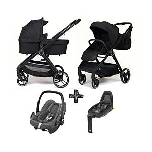 Kinderwagen NoviNeo Black/Black Grip 3in1 Inclusief Autostoel Maxi-Cosi Rock Sparkling Grey + FamilyFix2 Base
