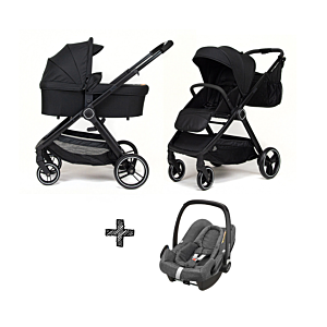 Kinderwagen NoviNeo Black/Black Grip 3in1 Inclusief Autostoel Maxi-Cosi Rock Sparkling Grey