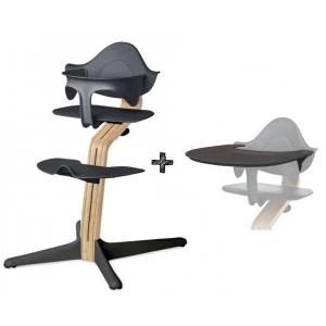 Kinderstoel Nomi Oak White + Anthracite Zitting + Beugel + Eetblad