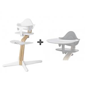 Kinderstoel Nomi Oak White + White Zitting + Beugel + Eetblad