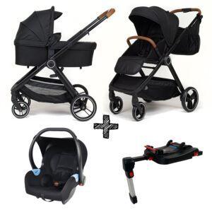 Kinderwagen NoviNeo Black/Cognac Grip 4in1 Inclusief Autostoel & Isofixbase