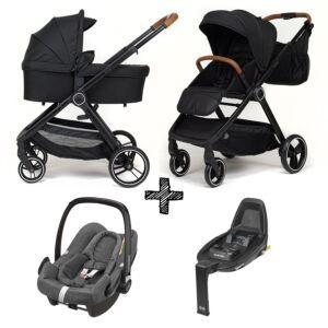 Kinderwagen NoviNeo Black/Cognac Grip 4in1 Inclusief Maxi-Cosi Rock & Isofixbase FamilyFix2