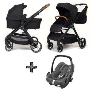 Kinderwagen NoviNeo Black/Cognac Grip 3in1 Inclusief Maxi-Cosi Rock