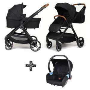 Kinderwagen NoviNeo Black/Cognac Grip 3in1 Inclusief Autostoel