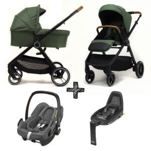 Kinderwagen NoviNeo Green/Cognac Grip 4in1 Inclusief Maxi-Cosi Rock & FamilyFix2