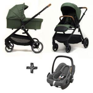 Kinderwagen NoviNeo Green/Cognac Grip 3in1 Inclusief Maxi-Cosi Rock