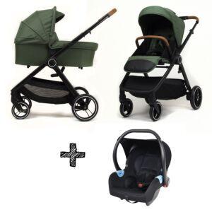 Kinderwagen NoviNeo Green/Cognac Grip 3in1 Inclusief Autostoel
