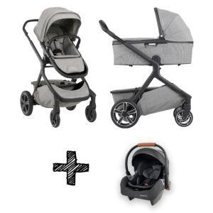 Set | Kinderwagen Nuna Demi Grow Frost + Autostoel Premium Granite Grey