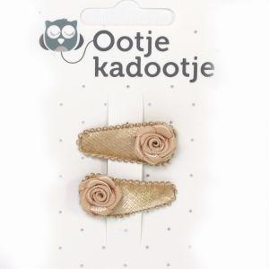 Haarclipje O'tje Kadootje Fluweel Zand/Roos Zand