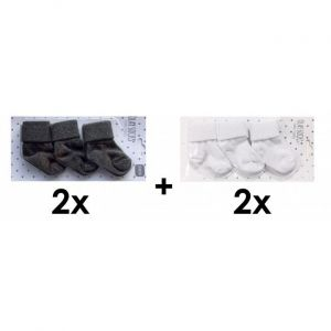 SET | 2x Sokjes Dark Grey 3st. + 2x Sokjes White 3st.