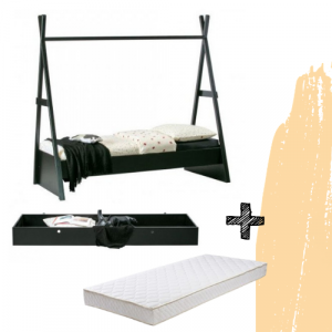 SET | Bed Woood Joep + Bedlade Joep + Matras Bonell
