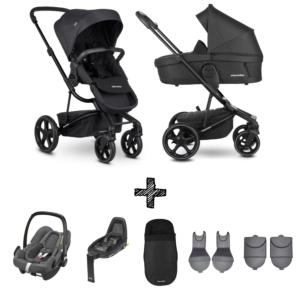Kinderwagen Easywalker Harvey3 Premium Jet Black All Black inclusief Autostoel Maxi-Cosi Rock & Accessoirepakket