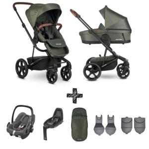 Kinderwagen Easywalker Harvey3 Premium Emerald Green inclusief Autostoel Maxi-Cosi Rock & Accessoirepakket