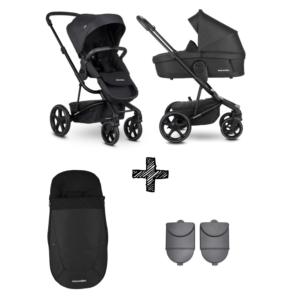 Easywalker Harvey³ Premium Jet Black All Black + Autostoel met Hoogte Adapter & Voetenzak