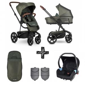 Kinderwagen Easywalker Harvey³ Premium Emerald Green + Autostoel met Hoogte Adapter & Voetenzak