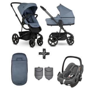 Kinderwagen Easywalker Harvey3 Steel Blue inclusief Autostoel Maxi-Cosi Rock & Accessoirepakket