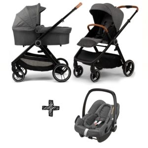 Kinderwagen NoviNeo Grey/Cognac Grip 3in1 Inclusief Maxi-Cosi Rock
