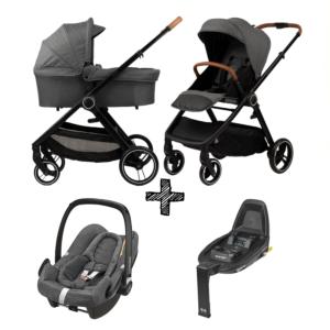 Kinderwagen NoviNeo Grey/Cognac Grip 4in1 Inclusief Maxi-Cosi Rock & Isofixbase FamilyFix2