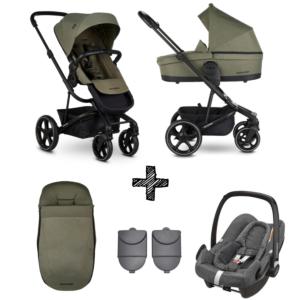 Kinderwagen Easywalker Harvey3 Sage Green inclusief Autostoel Maxi-Cosi Rock & Accessoirepakket