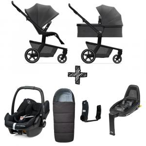 Set Compleet | Kinderwagen Joolz Hub+ Awesome Antracite + Voetenzak & Autostoel & Base & Adapterset
